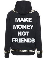 MAKE MONEY NOT FRIENDS Zip-up Cotton Blend Sweatshirt Hoodie - Black
