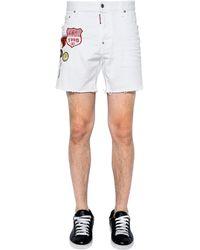 DSquared² Shorts Aus Baumwolldenim Mit Patches - Weiß