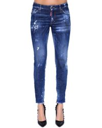 DSquared² - Skinny Mid Rise Destroyed Denim Jeans - Lyst