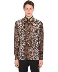 Versace シルク レオパードプリントシャツ - ブラウン