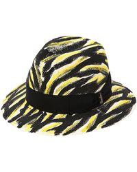 Borsalino Quito ハンドペイント ミディアムパナマ帽 - マルチカラー