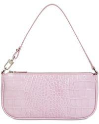 BY FAR Rachel Croc Embossed Leather Bag - Pink
