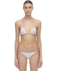 Oséree Bikini Triangle En Lycra Floral - Blanc