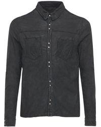 Giorgio Brato Brushed Leather Button Shirt - Black