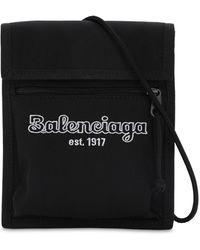 Balenciaga Estab Logo Nylon Crossbody Bag - Black