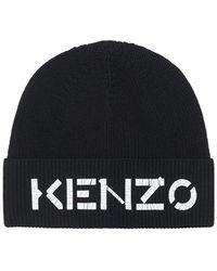 KENZO Шапка Из Шерстяного Трикотажа С Логотипом - Черный