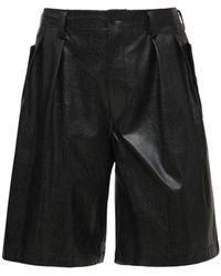 Yohji Yamamoto Shorts De Piel Sintética Plisados - Negro