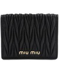 """Miu Miu Gsteppte Brieftasche Aus Leder """"compact"""" - Schwarz"""