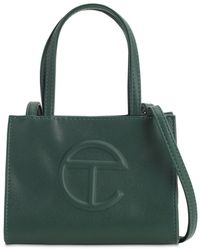 Telfar Small Embossed Faux Leather Tote Bag - Green