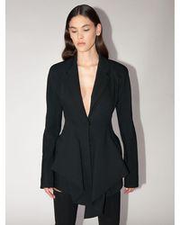 Mugler Flared Cool Wool Jacket Dress - Black