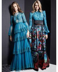 Zuhair Murad Langes Kleid Aus Spitze Und Tüll - Blau