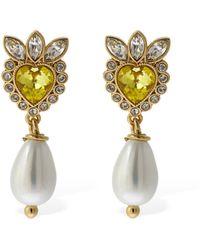 Gucci Ohrringe Mit Kristallen Und Perlenimitaten - Gelb