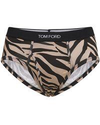 Tom Ford Calzoncillos De Algodón Stretch Estampados - Marrón