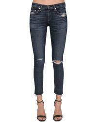 Rag & Bone - Raw Hem Destroyed Skinny Jeans - Lyst