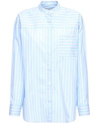 MSGM Рубашка Из Хлопка Поплин - Синий