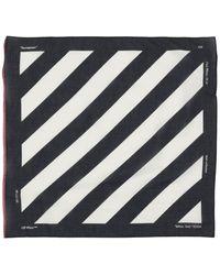 Off-White c/o Virgil Abloh Diagonal Stripe Cotton Blend Bandana - Black
