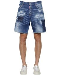 DSquared² Short En Denim De Coton Usé 35cm - Bleu