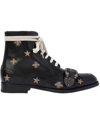 Gucci - Queercore Embroidered Lace-up Boots - Lyst