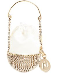 Rosantica Baby Ghizlan Crystal Long Necklace Bag - White