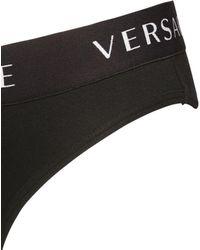 Versace - Slip Aus Stretch-baumwolljersey - Lyst