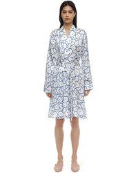 Derek Rose Brindisi Flower Print Silk Kimono - Blue