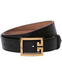 Givenchy 30mm Logo Leather Belt - Black