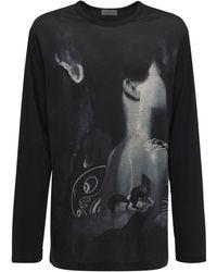 Yohji Yamamoto Camiseta De Algodón Estampada - Negro