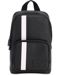 Bally - Logo Stripe Faux Leather Backpack - Lyst