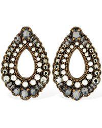 Etro Crystal & Faux Pearl Clip-on Earrings - Schwarz