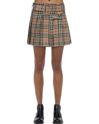 Burberry Pleated Check Wool Mini Skirt - Natural