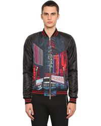 Balmain Printed Tech Satin Bomber Jacket - Multicolour