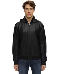 Armani Exchange フード付きエコレザージャケット - ブラック