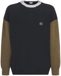 Loewe Suéter De Punto De Lana Color Block - Negro