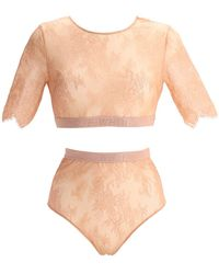 Off-White c/o Virgil Abloh Cropped Lace Lingerie Set - Natural
