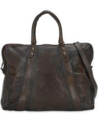 Numero 10 Weekender Leather Duffle Bag - Gray