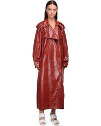 Bottega Veneta Пальто Из Кожи Наппа - Красный