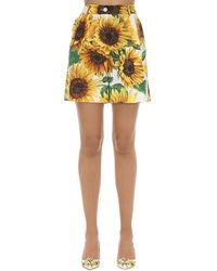Dolce & Gabbana Shorts Aus Baumwollpopeline Mit Druck - Gelb