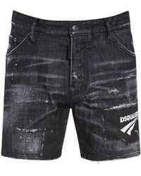 DSquared² 26.5cm Dan Commando Cotton Denim Shorts - Black