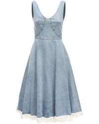 Patou Flared Cotton Denim Dress - Blue