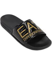EA7 ロゴ スライドサンダル - ブラック