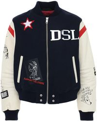 DIESEL Wool Blend & Leather Varsity Jacket - Blue