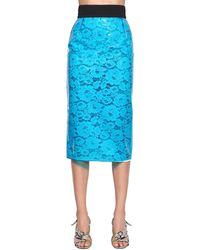 N°21 Coated Lace Pencil Midi Skirt - Blue