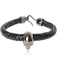 Alexander McQueen - Skull Woven Leather Bracelet - Lyst