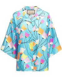 Gucci シルクツイルシャツ - ブルー