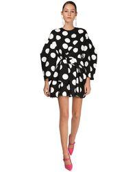 Carolina Herrera Polka Dots Print Cotton Mini Dress - Черный