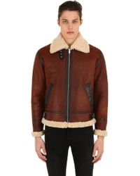 The Kooples - Shearling Jacket W/ High Collar - Lyst