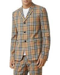 Burberry Check Wool & Mohair Blazer - Natural