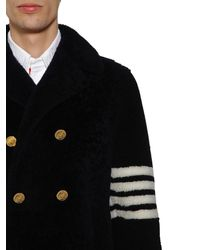 Thom Browne Shearling Unconstructed Classic Peacoat - Schwarz