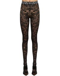 Versace Stretch Lace Footed Leggings - Black
