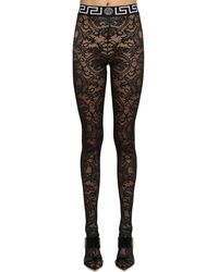 Versace Leggings In Pizzo Stretch - Nero